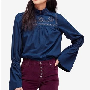 Free People Another Eternity Blouse Teal XS NWT